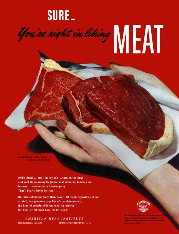 Meat. Two Hands Full  Meat offers more than flavor. Grab a handful today. American Meat Institute, 1947.