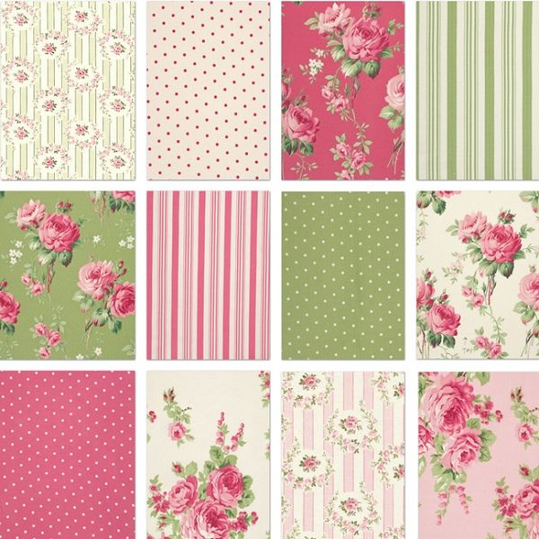 Barefoot Roses 12 Fat Quarter Set by Tanya Whelan for Free Spirit