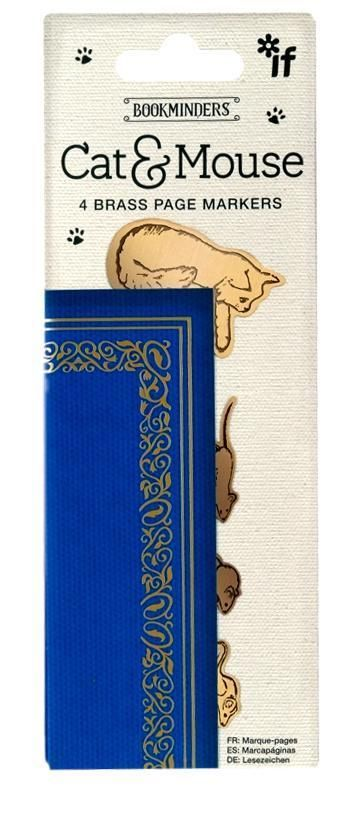 BEAUTIFUL CAT & MOUSE VINTAGE STYLE BRASS MATERIAL BOOKMARK / 4 X PAGE MARKERS #If