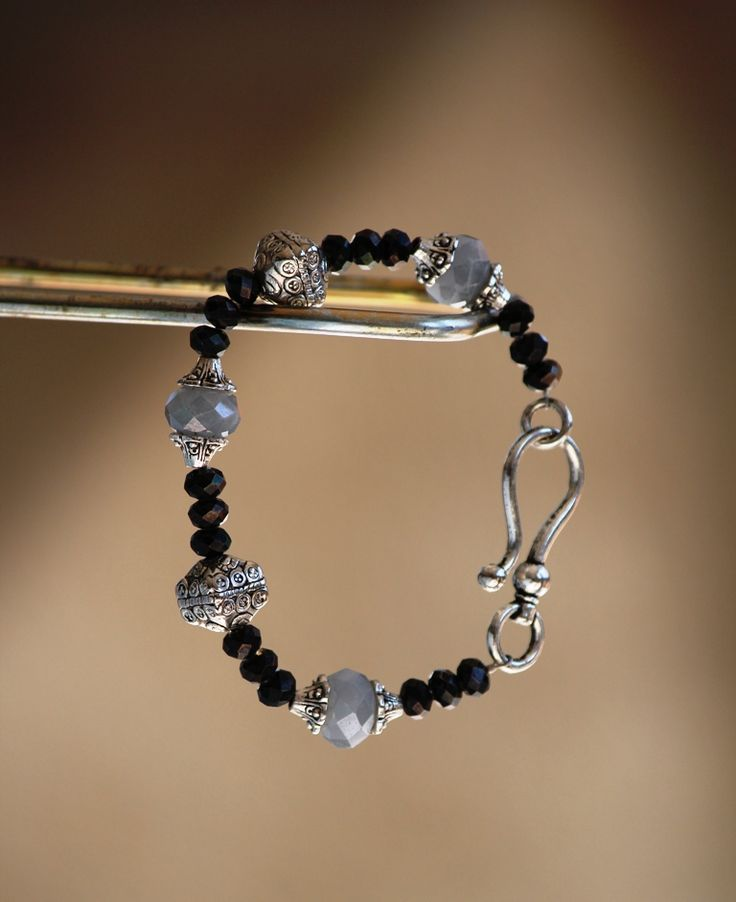 Black crystal bracelet made by HeartBeads. https://www.facebook.com/heartbeadsjewellery