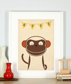 Retro Poster, tolles, hochwertiges Affe Bild
