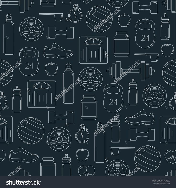 Line fitness seamless pattern; vector illustration with