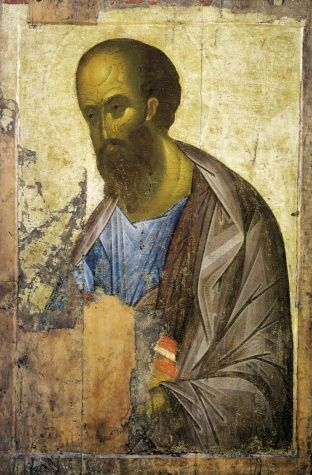 Andrei Rublev, Medieval Russian artist and a monk,and his Apostle Paul, ca 1410