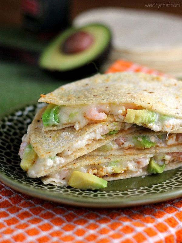 Double Cheese Avocado and Shrimp Quesadillas - Easy, delicious, and ready in about 20 minutes! - wearychef.com