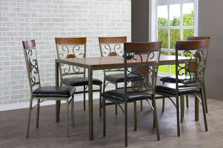 Fiore Wood Metal 7-Piece Transitional Dining Set