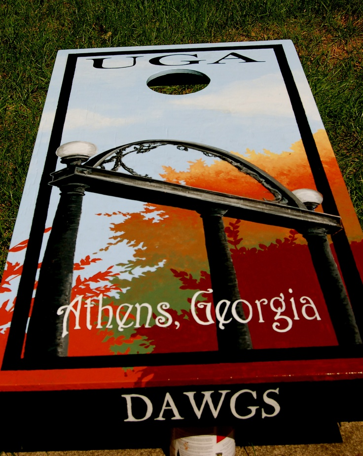 UGA corn hole board: Father Day, Georgia Girls, Colleges Football, Better Places, Tailgating Georgia, Cornhole Boards, Uga Arches, Georgia Features, Georgia Bulldogs