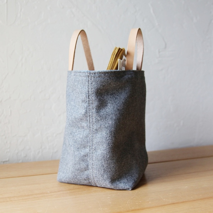 Small Stash Tote in Vintage Gray Wool // Organic Cotton Lining // Leather Handles // Home Decor // Organizer. $25.00, via Etsy.