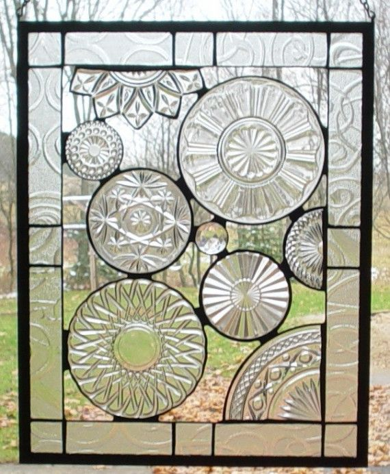Stained Glass PANEL made with vintage plates from Barbarasstainedglass on Etsy