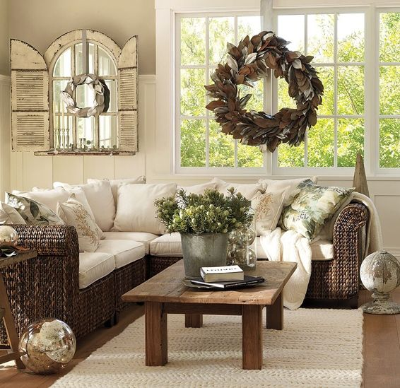 This Would Be A Great Sunroom, But Iu0027m Not Sure I Would Go With This  Outdoor Furniture For A Living Room Set. The Wreath Is A Bit Over Powering,  ...