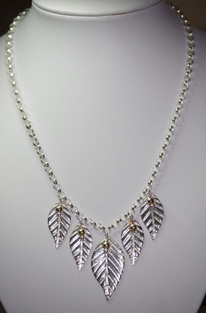 Designed and made by Nuit Nuit -Fine silver 5 leaf pendent necklace with a thick sterling silver belcher chain with 9ct Gold filled beads