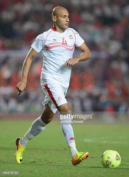 Alaeddin Yahia of Tunisia in action during the FIFA 2014 World Cup qualifier at the Stade Olympique de Radès on October 13 2013 in Rades Tunisia