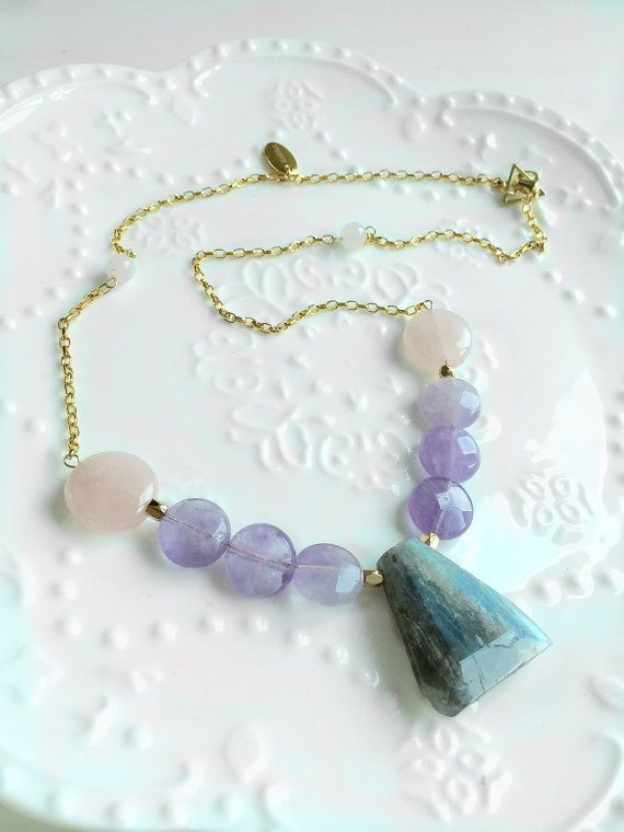 Natural #amethyst rose #quartz and blue ray #labradorite pendant necklace, candy color gemstone #collarnecklace, 24 K Gold chain, FREE shipping #newarrival #highquality #affordable #freeshipping #bead #beads #gem #gems #gemstone #gemstones #jewelry #jewellery #jewelrymaking #jewelrysupplies #jewelrysupply #etsy #farragem #design #designer #handcrafted #handmade #ring #necklace #earrings #bracelet #pendant