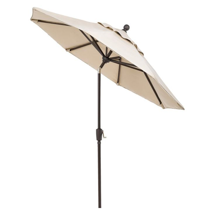 Telescope Casual 7.5 ft. Sunbrella Powder Coated Aluminum Frame Round Umbrella with Push Button Tilt Kelly Stripe - 10B45601