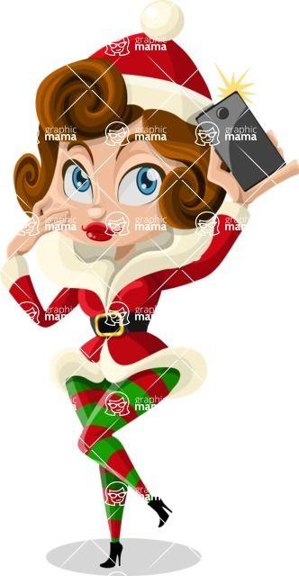 Christmas female elf taking a selfie #illustration #vector #Christmas