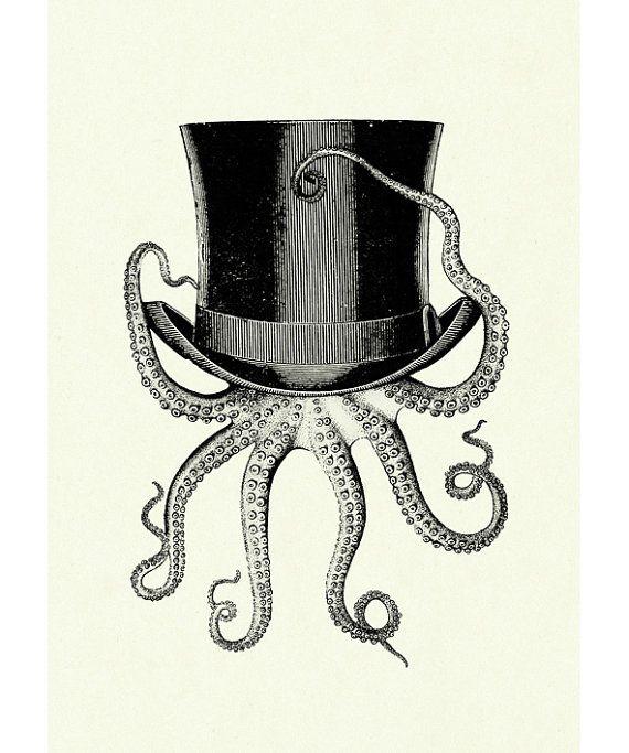 Octopus wearing Top Hat Victorian Steampunk art by emporiumshop