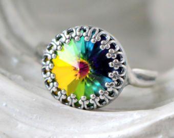 Pavo real | Anillo de cristal Swarovski | Anillo de la corona | Plata antigua | Corona victoriana | Pavo real cristal | Boda arco iris | Nupcial | Regalo para ella