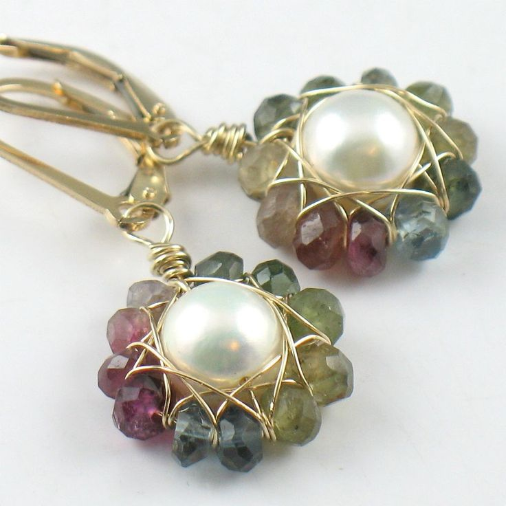 Tourmaline and Pearl Flower Earrings in Gold by SDJewelry on Etsy. $48.00, via Etsy.