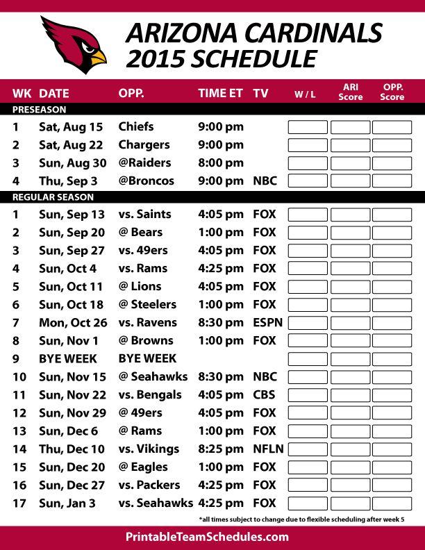 Arizona Cardinals 2015 Schedule. Printable version here: http://printableteamschedules.com/NFL/arizonacardinalsschedule.php