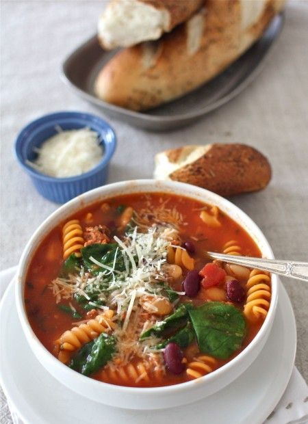 Soup from the Pantry (Recipe: Sausage, Bean & Pasta Soup with Spinach)  from @Aimee | Simple Bites