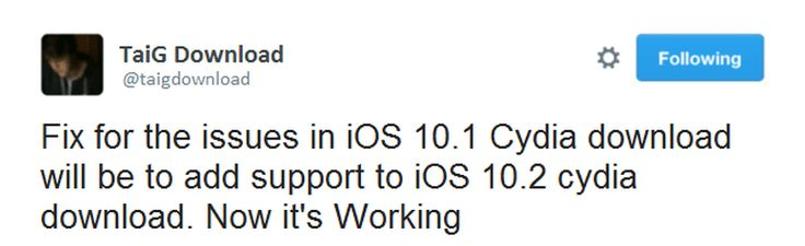 The developer of iOS 9.3.3 and iOS 10.1.1 cydia downloader who known as TaiG, announced that has been updated the tool to install cydia on iOS 10.2 now. Through the new update of TaiG online cydia downloader, it has been improven the compatibility of the tool up to iOS 10.2 cydia install. Taig download has been tweeted that their solutions on iOS 10.2 cydia download are working and now the tool can be used to install cydia iOS 10.2 apps for those Apple devices after iPhone 5C
