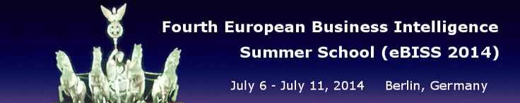Fourth European Business Intelligence Summer School (eBISS 2014). We are pleased to announce the Fourth European Business Intelligence Summer School. This summer school, presented by leading researchers in the field, represents an opportunity for postgraduate students to equip themselves with the theoretical, practical, and collaboration skills necessary for developing challenging Business Intelligence applications.