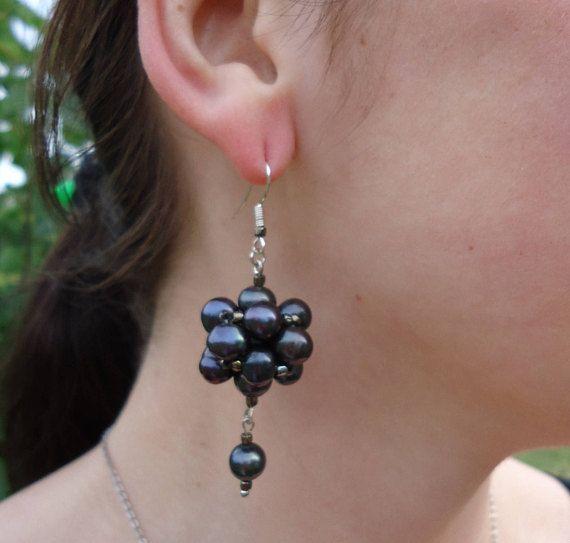 Pearl Earrings Black Pearl Earrings Dangle earrings Freshwater
