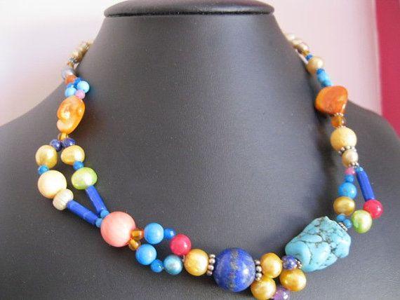 Cuba Colours Gemstone Necklace Set by JulleenJewels on Etsy