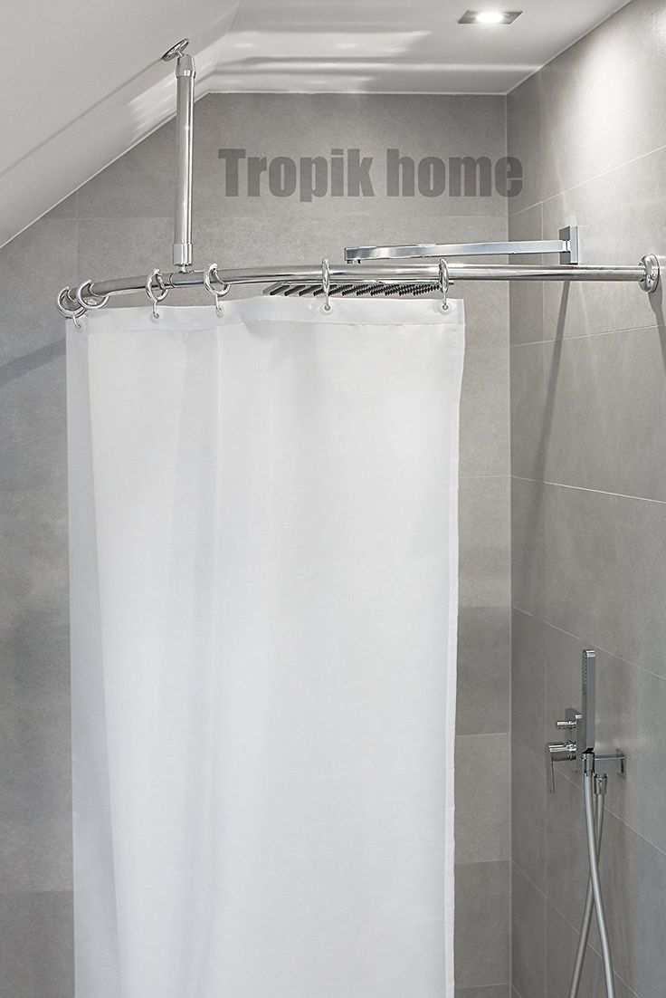 Ceiling mount curtains quotes - Curved Shower Curtain Rail Pole Rod With Ceiling Bracket And Hooks 80 X 80cm