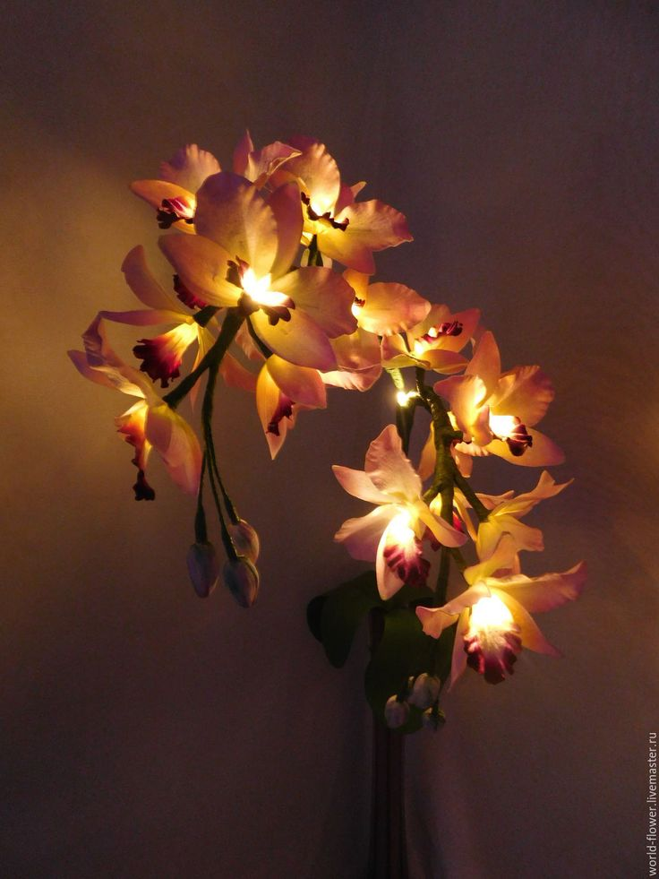"""Купить Букет-светильник """"Орхидея Амелия"""" - розовый, цветы ручной работы, ночник…"""