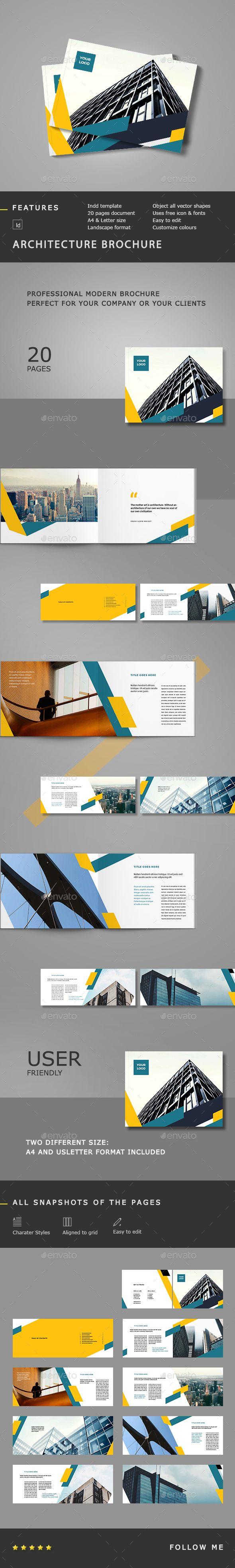 Architecture Landscape Brochure Template InDesign INDD #design Download: http://graphicriver.net/item/architecture-landscape-brochure/14209765?ref=ksioks