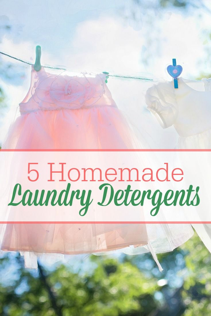 5 Unique Homemade Laundry Detergent Recipes -- includes both liquid and powder recipes and cloth-diaper safe!