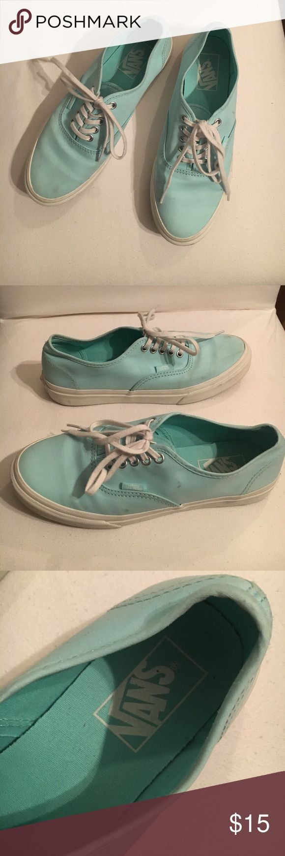 Tiffany blue Vans Tiffany blue vans with white laces. In pretty good condition Vans Shoes Sneakers
