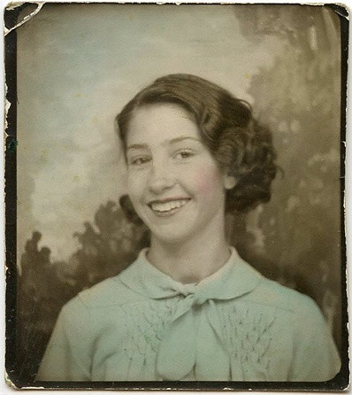 ** Vintage Photo Booth Picture **   Hand tinting and the winning smile: