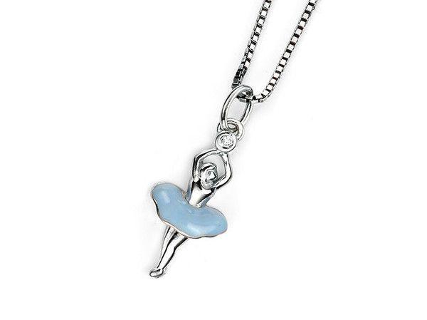 D for Diamond Silver Pendant - Ballerina