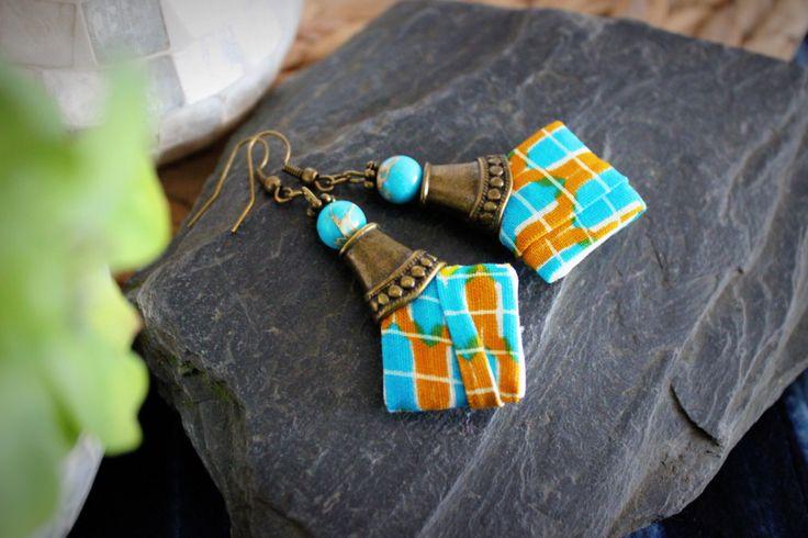 Boucles d'Oreille chic losange en tissu africain Wax
