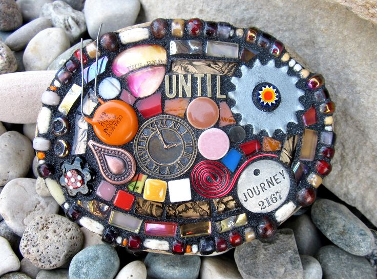 Until The End Of Time. mixed media mosaic on stone