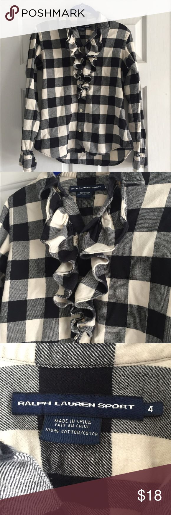 Ralph Lauren ruffled flannel shirt Stay warm and cozy and still look adorable with this Ralph Lauren ruffled flannel blouse! Gently used and in great condition. Ralph Lauren Tops Button Down Shirts