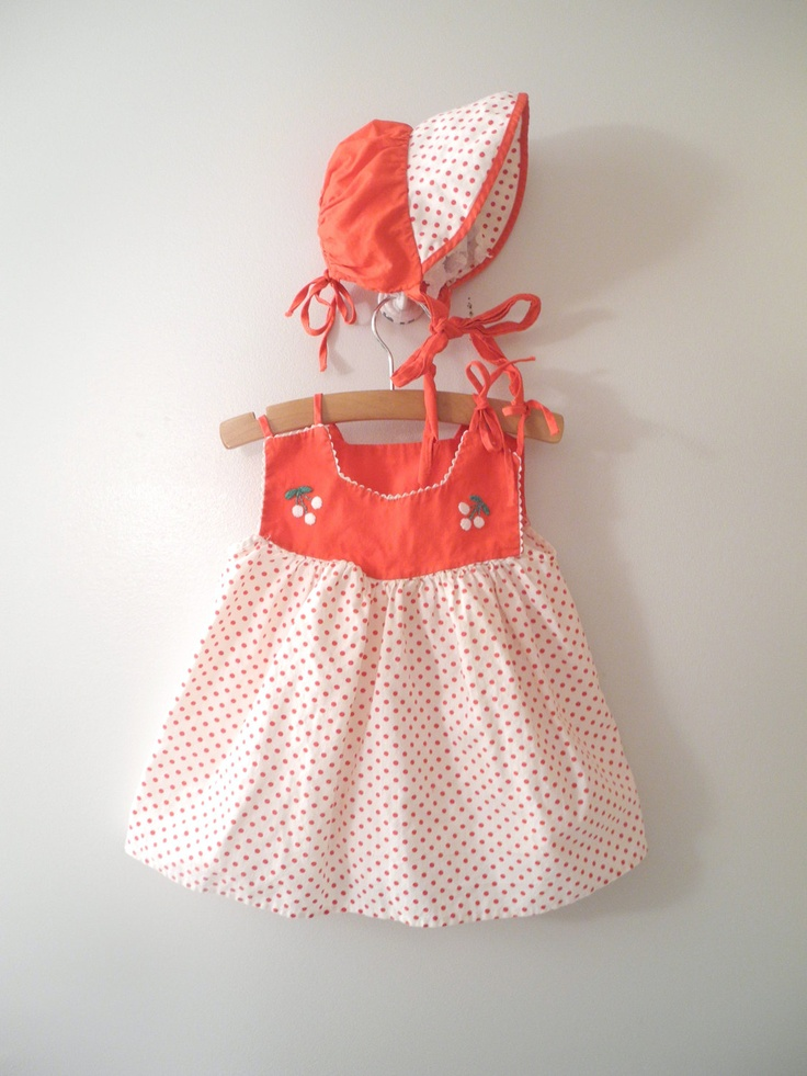 "1960's Red and White Polka Dot ""White Ranier Cherry"" Sun Dress Set. $30.00, via Etsy."