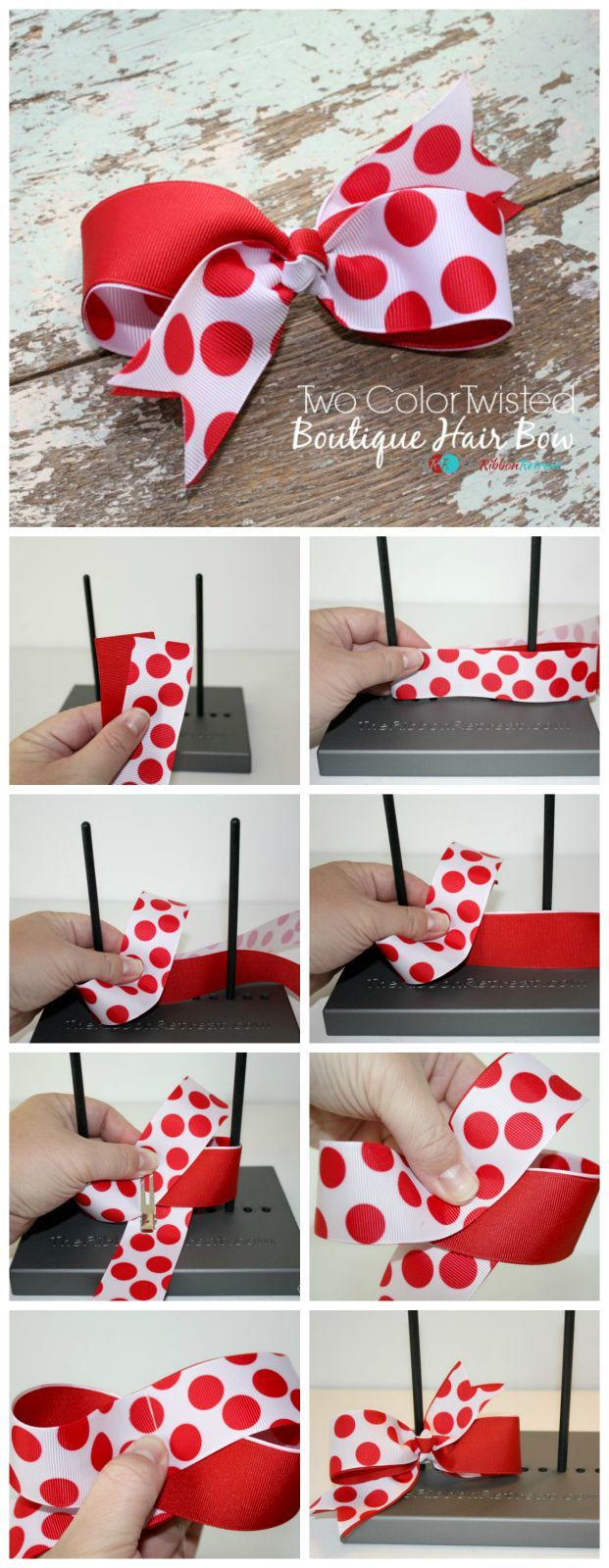 How To Make A Two Color Twisted Boutique Hair Bow - The Ribbon Retreat Blog