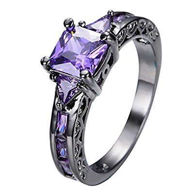 JW Collection Amethyst Sapphire Black Gold Filled Promise Engagement Rings