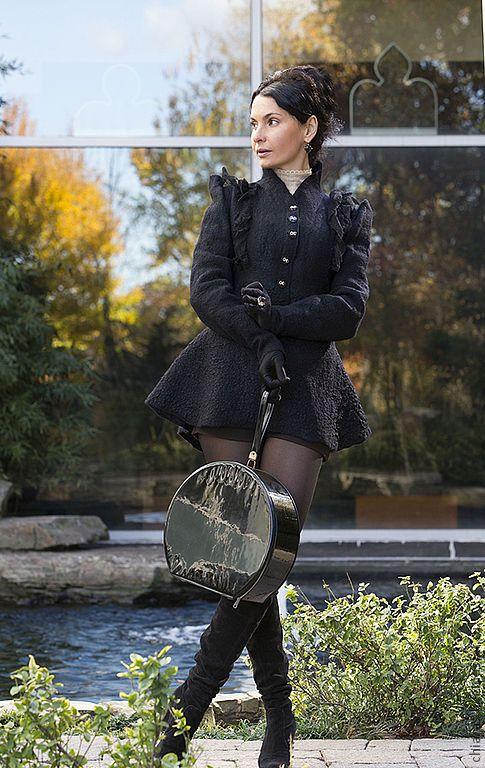 """Купить авторское Пальто из шерсти и шелка """"Рокировка"""" - черный, черное пальто, дизайнерское черное"""