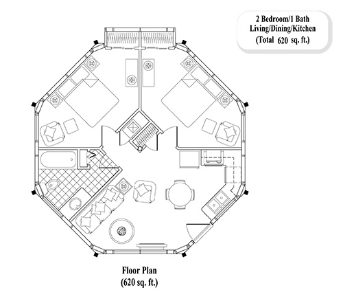 GUEST HOUSE Collection GH-0203 (620 sq. ft.) 2 Bedrooms, 1 Baths