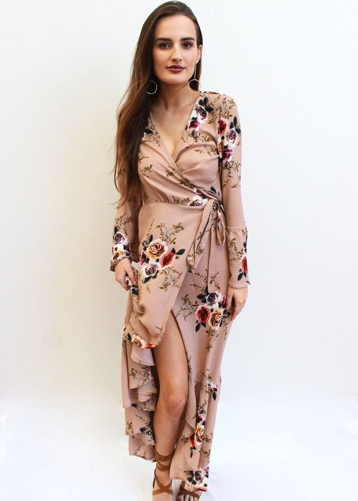 85 Stunning Bohemian Style Interior Design Ideas For Your: Stunning Boho Maxi Wrap Dress In Nude With Floral Pattern