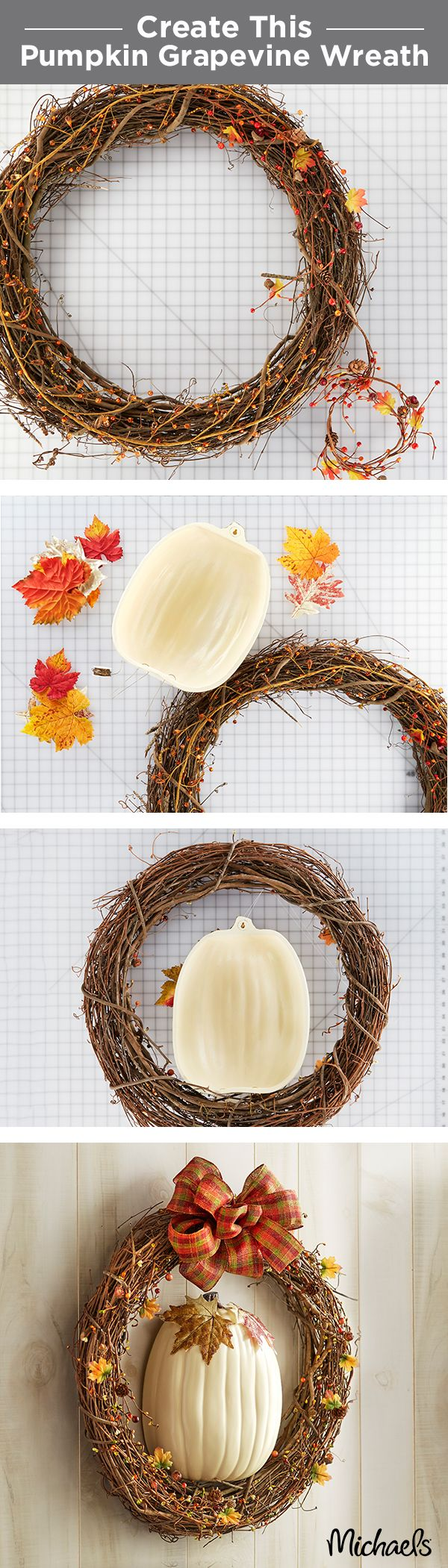 Greet your guests with this simple fall pumpkin wreath. Our craft pumpkins now come pre-cut in half, which makes this project one step simpler! First, add a garland to a grapevine wreath. Next add Fall leaves to the half pumpkin and secure it to your wreath. Finish with a handmade bow. Find everything you need for this rustic Fall wreath at Michaels!