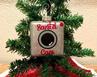 Santa Camera Santa Cam Ornament Glitter Square by GigglesWhims