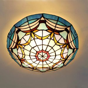 Mediterranean Ceiling Light Cover Stained Glass