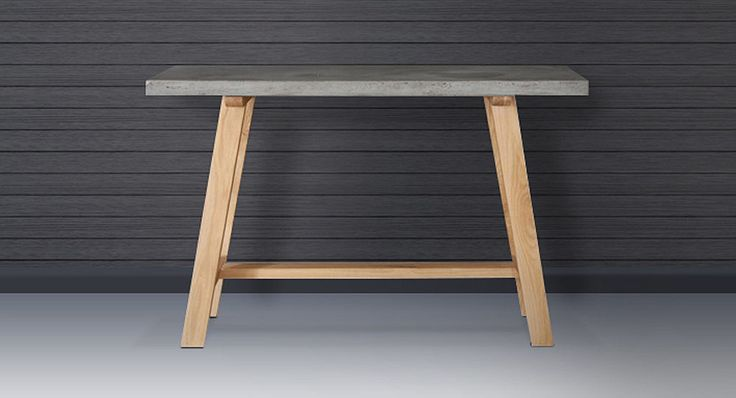 London console with a concrete table top on an Oak frame