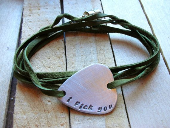 Personalized Mens Guitar Pick Leather Wrap Bracelet could easily DIY