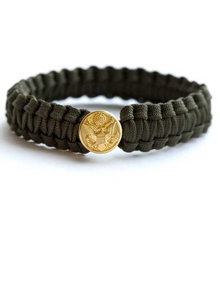 """Peace Cord Bracelet $15.00 USD   - Hand-woven from #550 """"cordless"""" parachute cord - Military insignia bracelets close with authentic military insignia button - As seen in Glamour, NY Times, Today Show - Artisan Country: Afghanistan"""