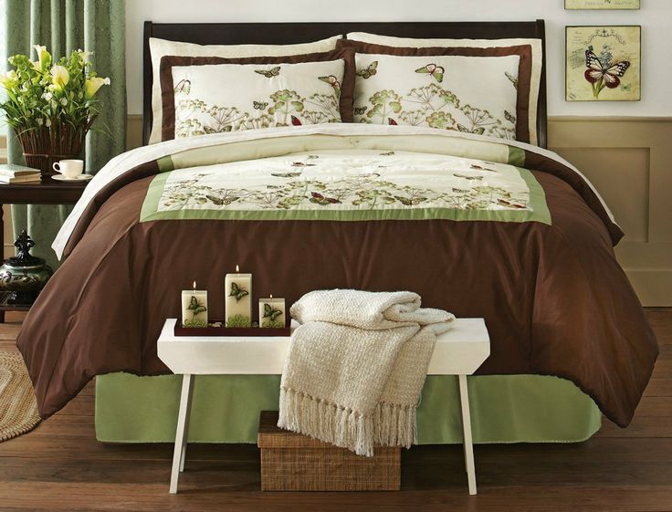 Brown And Green Butterfly Bedding Comforter Set By